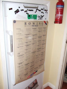 Rowing Rules on Anna's fridge - note GIGANTIC size of fridge needed for houseful of rowers