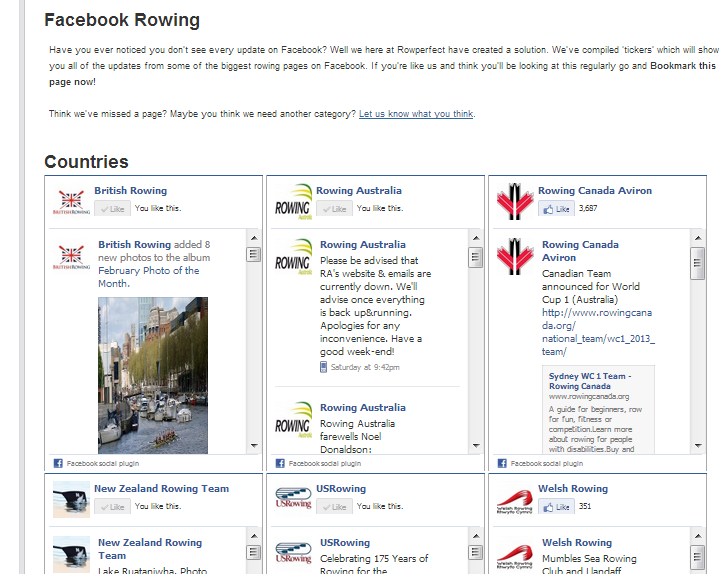 Facebook Rowing Page