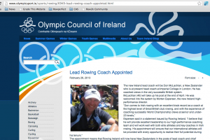 Irish Olympic Website annoucement