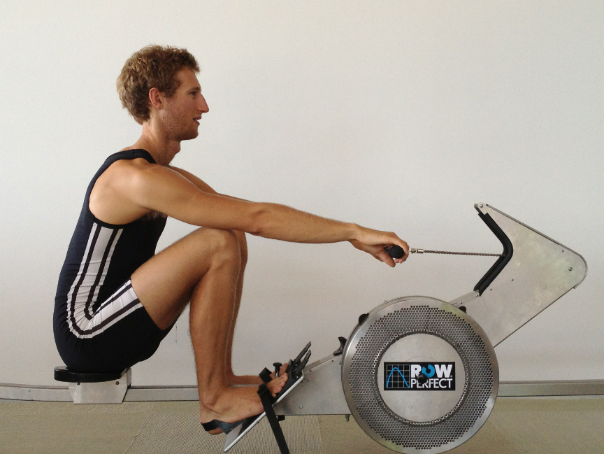 Rowperfect rowing machine at catch position