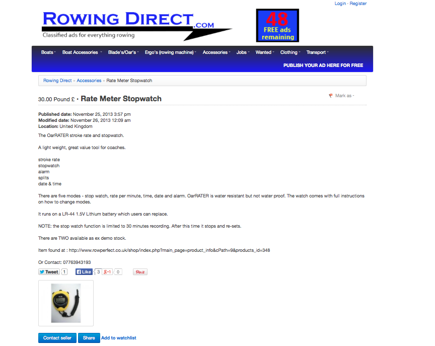 Rowing Direct advert