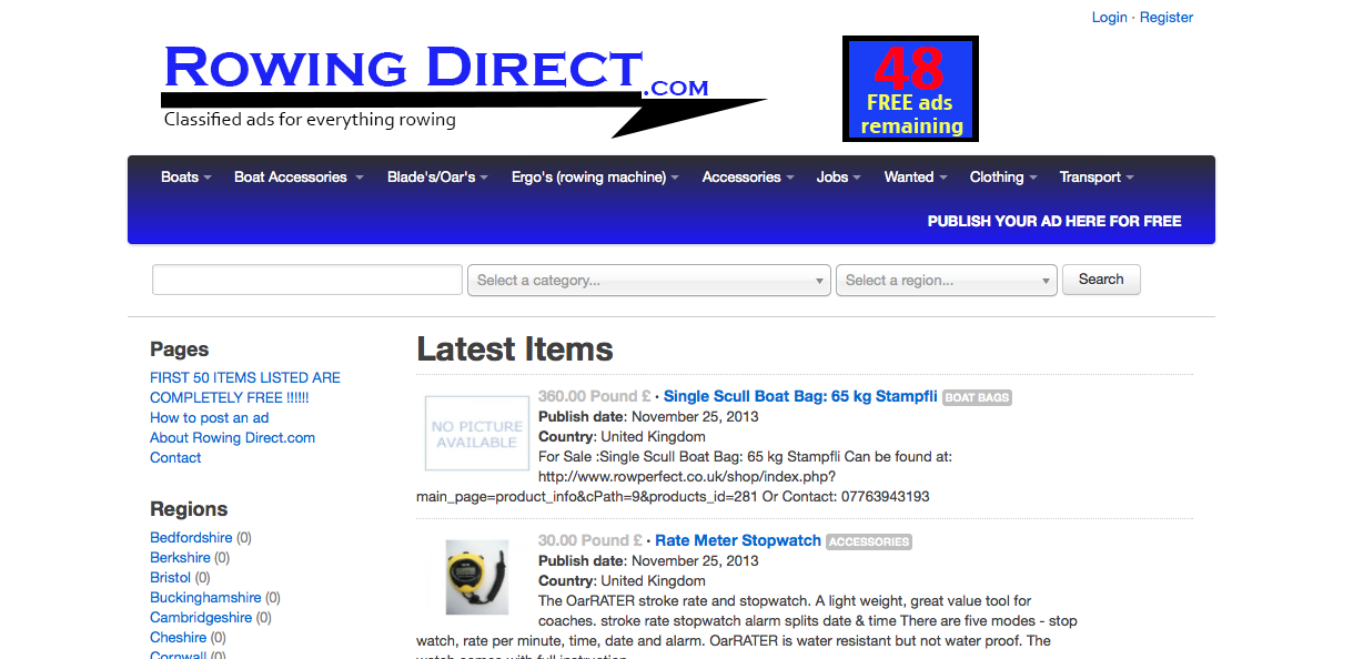Rowing Direct home page