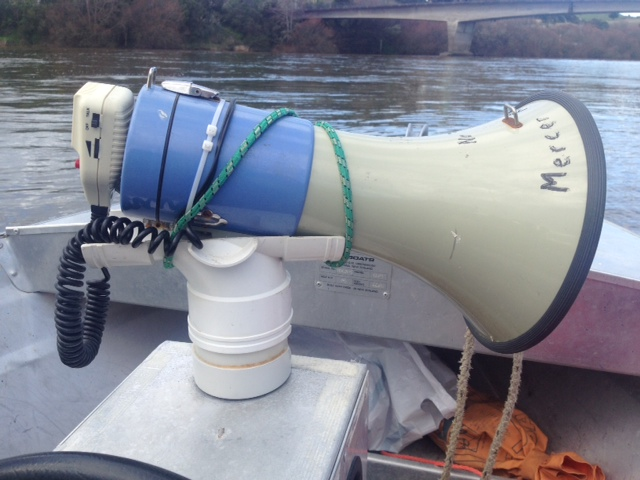 Use plastic piping to make a megaphone holder for #RowingCoach Boat