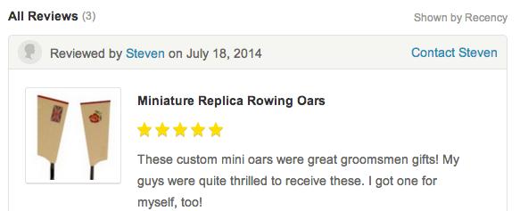 Miniature Replica Rowing oars