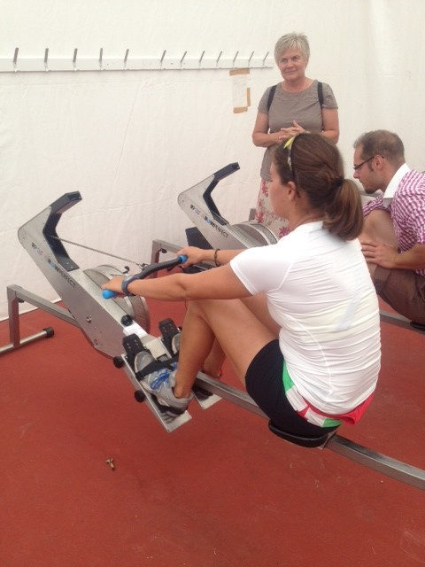 K Gimes the Hungarian woman single sculler trying the Rowperfect RP3