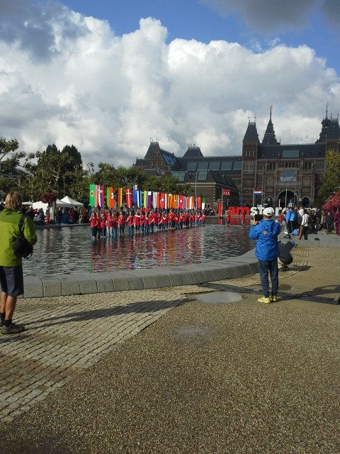 flags and fountain at Rijksmuseum
