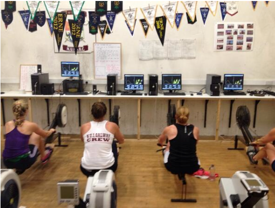 NUIG rowers using RP and peak force indicator to sync drive.