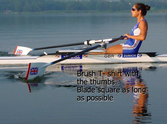 Sculling finish wrist position
