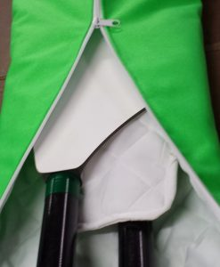 Oar bag showing opening and padded interior - note padded separator to protect the oar blades