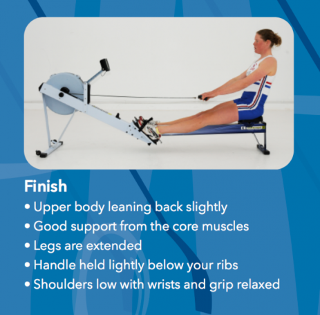 rowing machine technique at finish