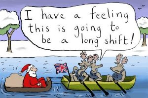 Long Shift Rowing Santa and Other Christmas Funnies