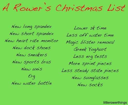 A Rower's Christmas List Rowing Santa and Other Christmas Funnies