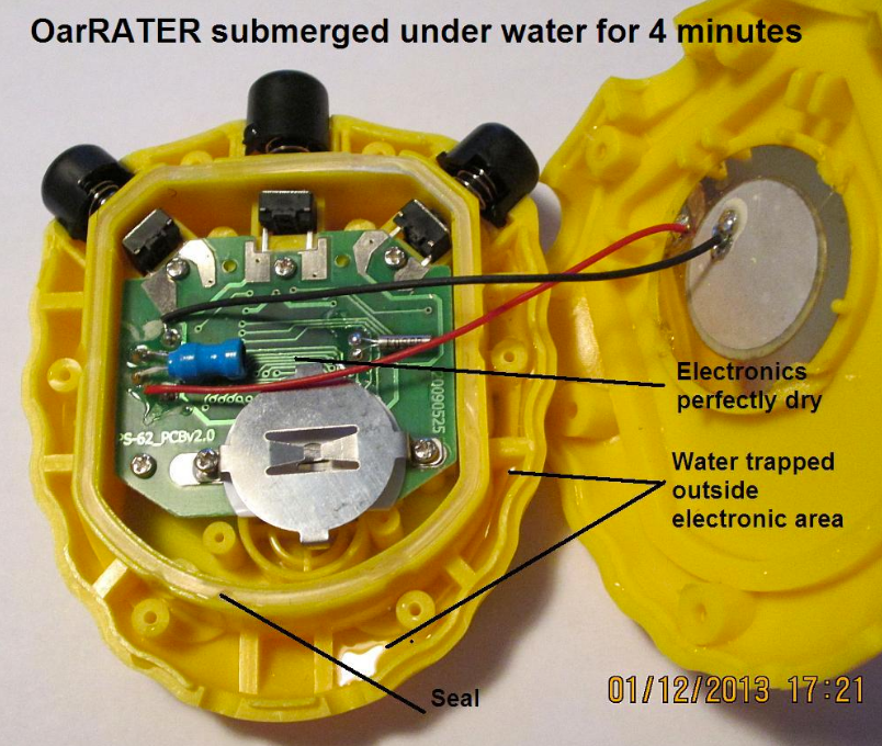 OarRater rating stopwatch after submerging in water