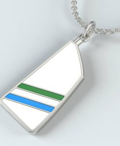 rowing jewelry silver oar blade custom design colour pendant