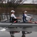 Junior girls sculling a double - doing drills