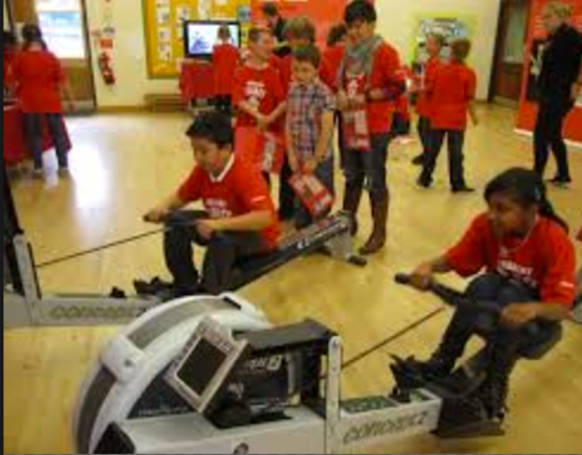 Children on rowing machines