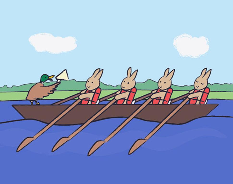 bunnies rowing