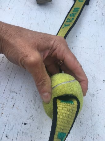 Tennis ball sliced for boat tie