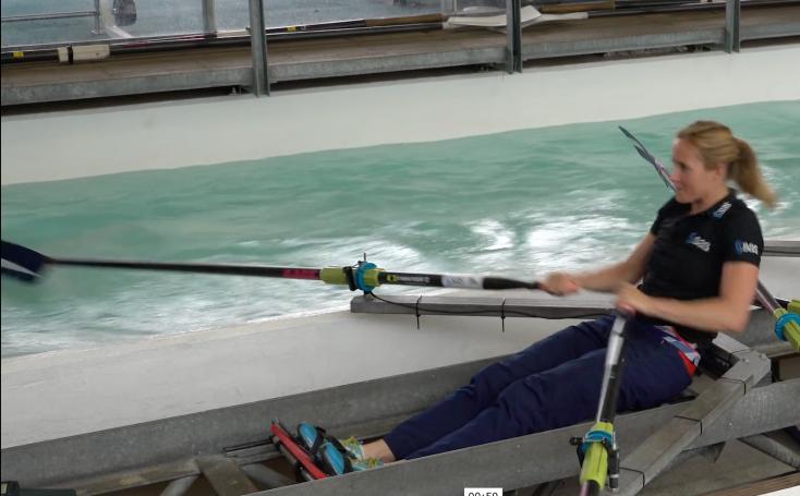 SAS Institute, British Rowing, Helen Glover rowing in the tank at Royal Albert Dock, London