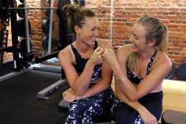 Karen Bennett and Holly Norton wearing ACAI activewear