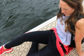 Karen Bennett wearing ACAI skinny outdoor trousers
