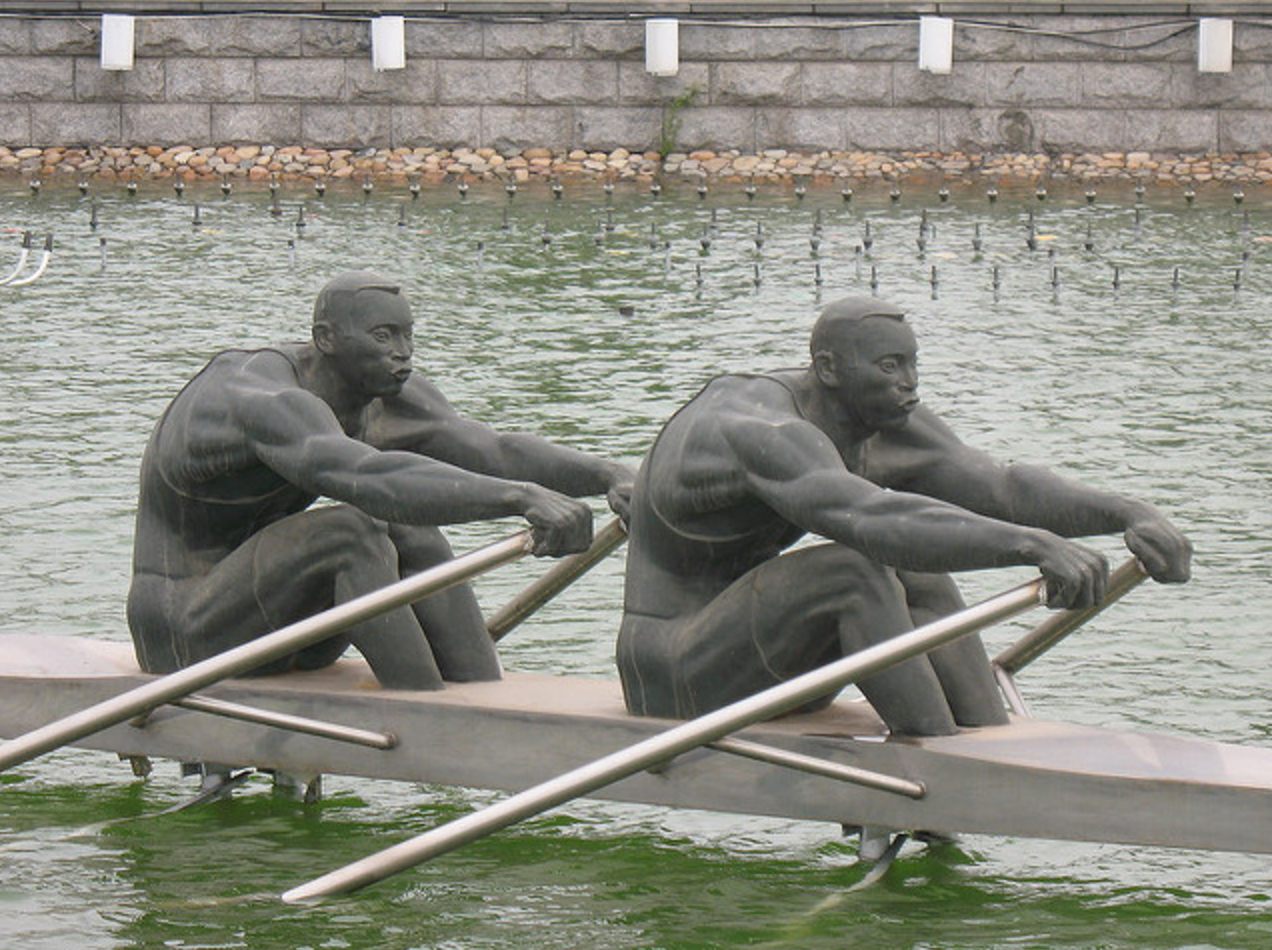 Closeup of the rowers double scull