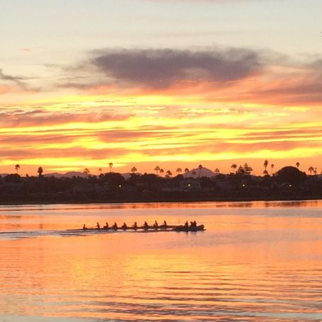 Rowing Crew at Dawn on the river
