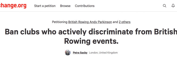 Change.org website petition against British Rowing