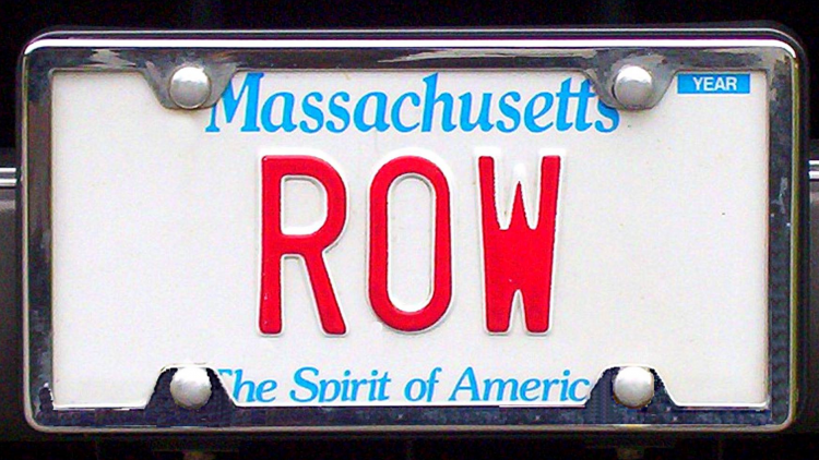 Row license plate