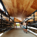 rowing boat house with racked boats