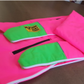 Rowing Boat Bag in pink with bright green stern/bow