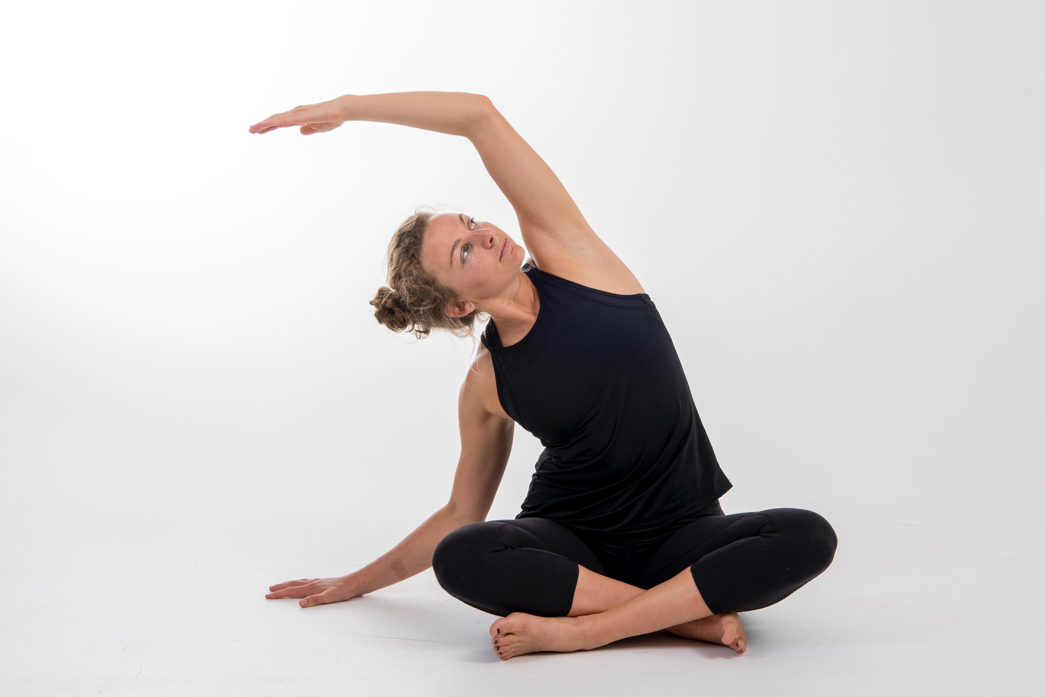 Sophie MacKenzie, athlete stretches