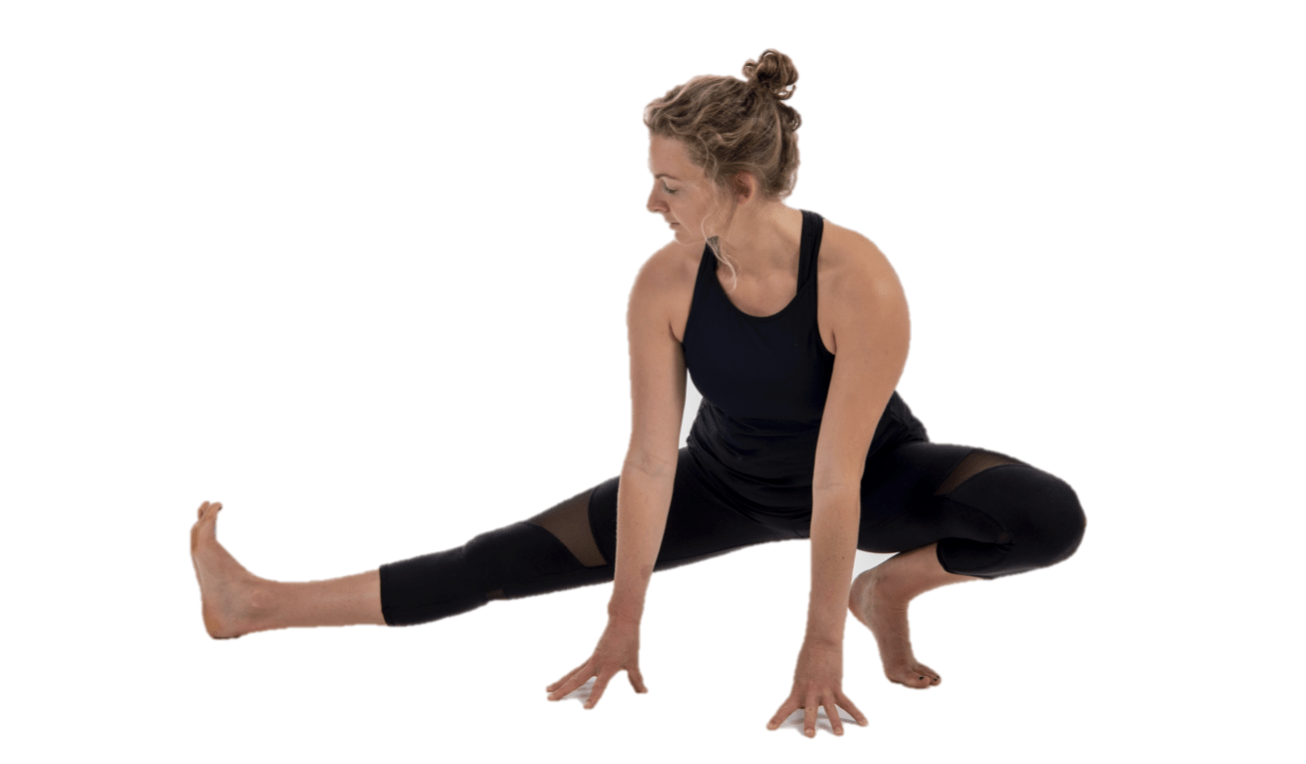 Crouch adductor stretch for rowers