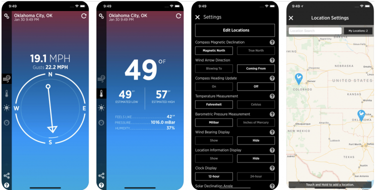 Wind Compass app screenshots