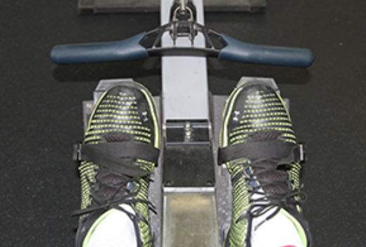 Feet in rowing machine