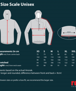 Rowing Anorak size chart