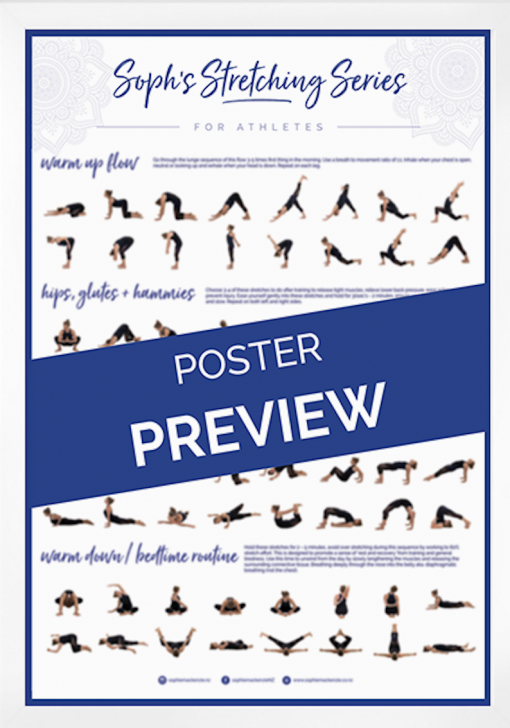Stretching poster , rowing stretch, Sophie Mackenzie
