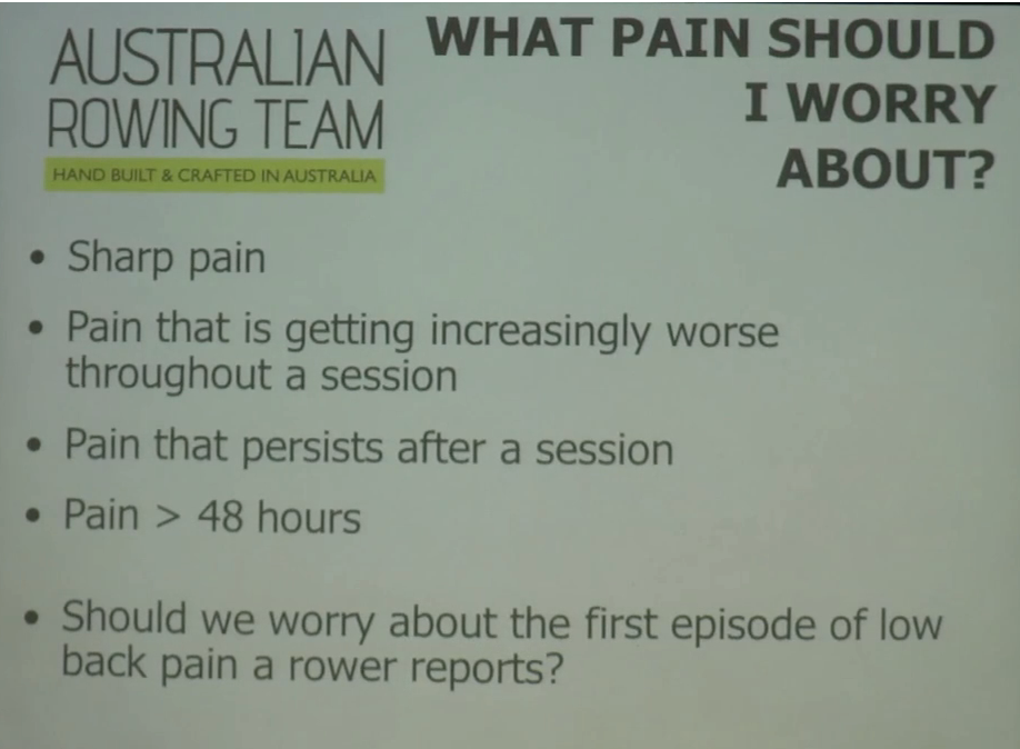 Rowing Back Pain, acceptable pain, rowing back injury