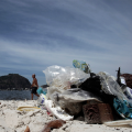 Rio Beach with plastic rubbish