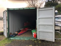 rowing boat storage, container boat