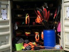 kayak storage, shipping container kayak store