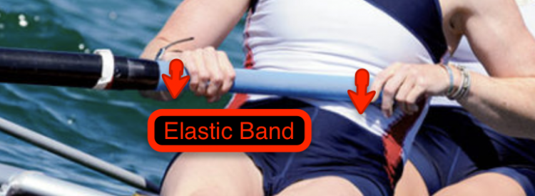 Elastic Band position on the sweep oar handle