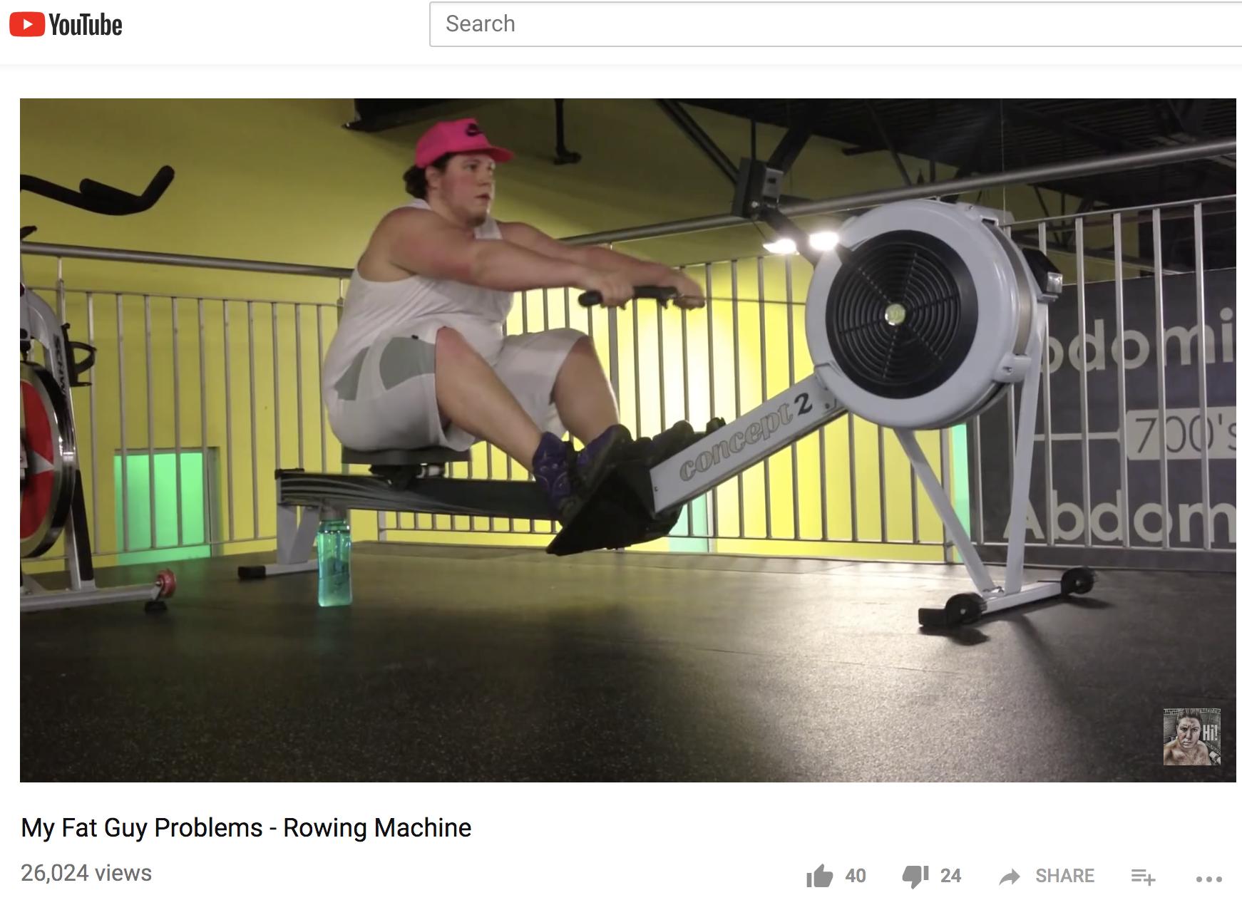 Fat guy, rowing machine, fat rower,