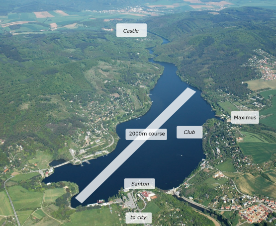 Aerial map , rowing camp, Prygl Lake