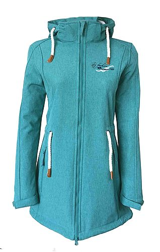 """Sydney Coat"" Women´s Melange Softshell-Coat sea green"