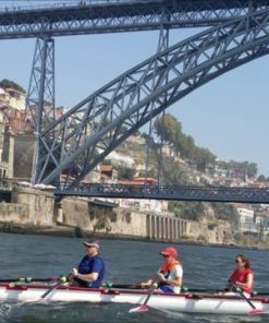 Rowing under a bridge