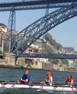 Rowing under a bridge