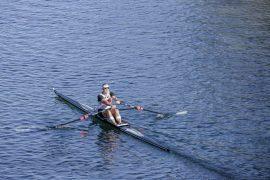 Single scull (skiff) on lake